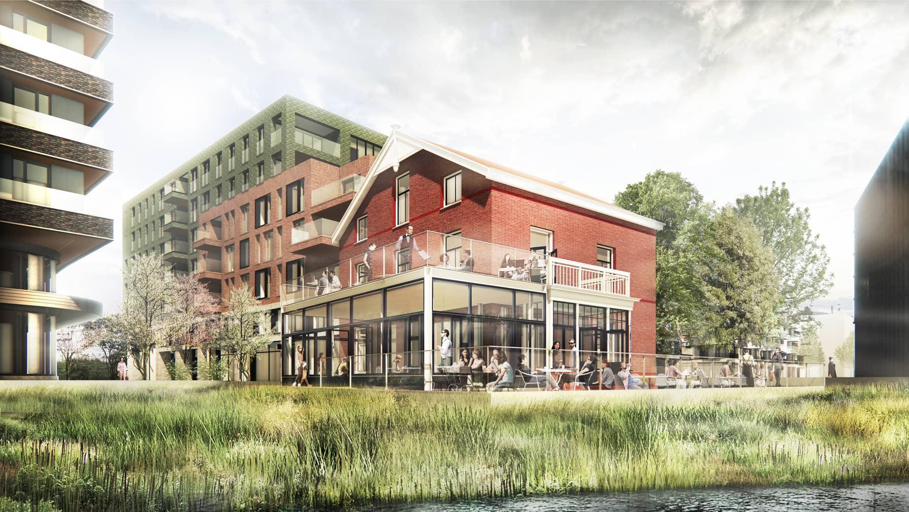 Kop van Cruquius Amsterdam diverse woningtypes aan het IJ