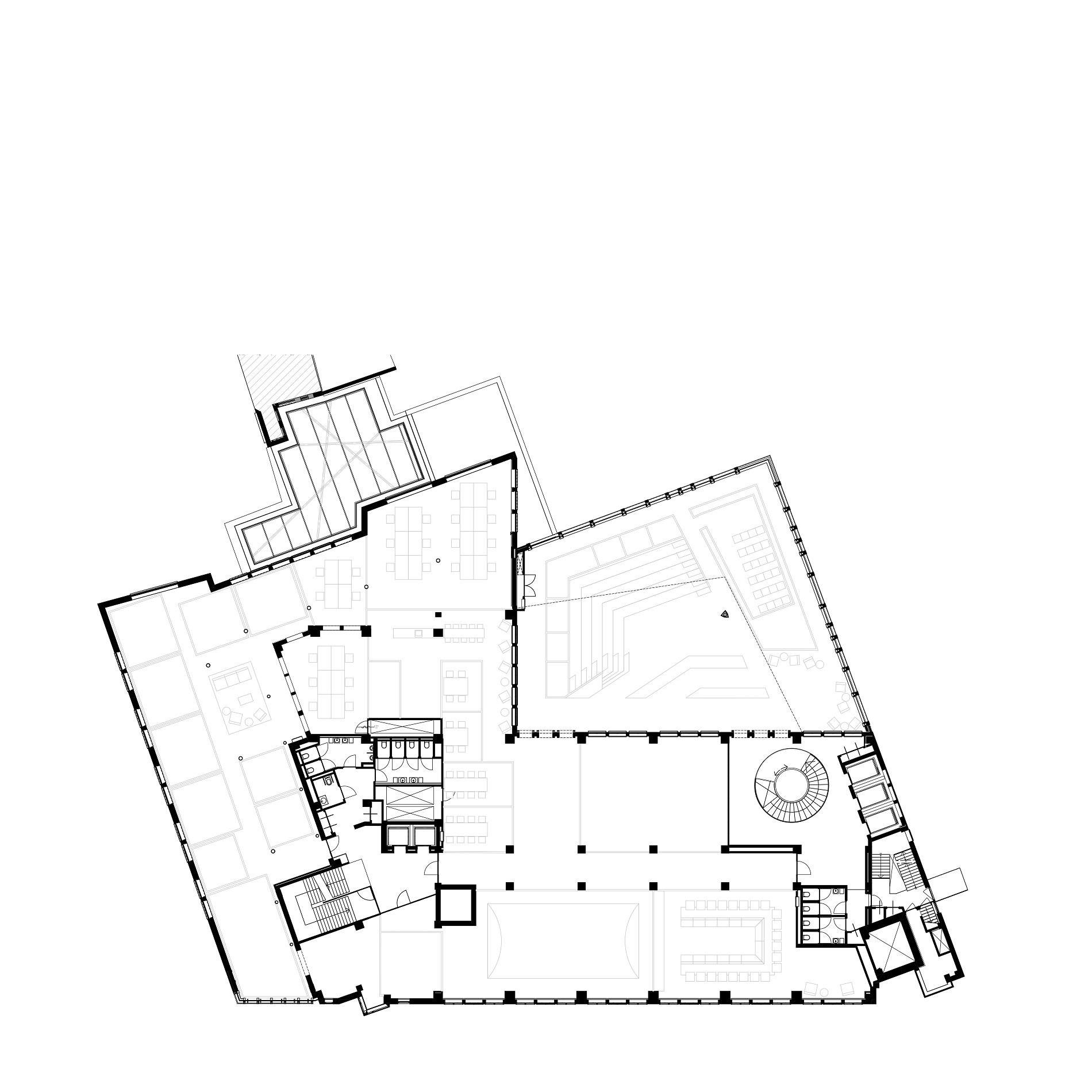 Plattegrond 1e verdieping van Nieuwezijds Voorburgwal 225 door Rijnboutt