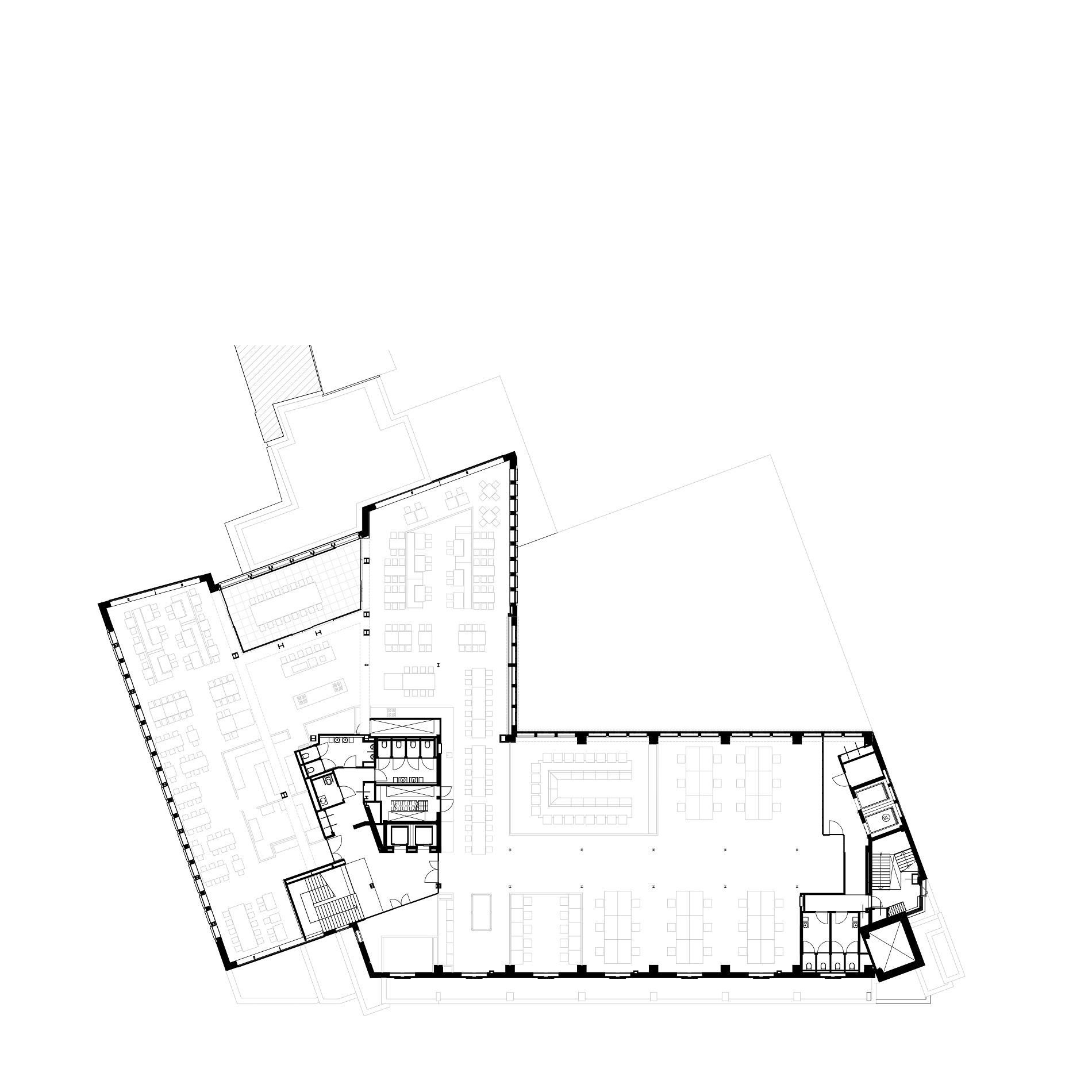 Plattegrond 5e verdieping van Nieuwezijds Voorburgwal 225 door Rijnboutt