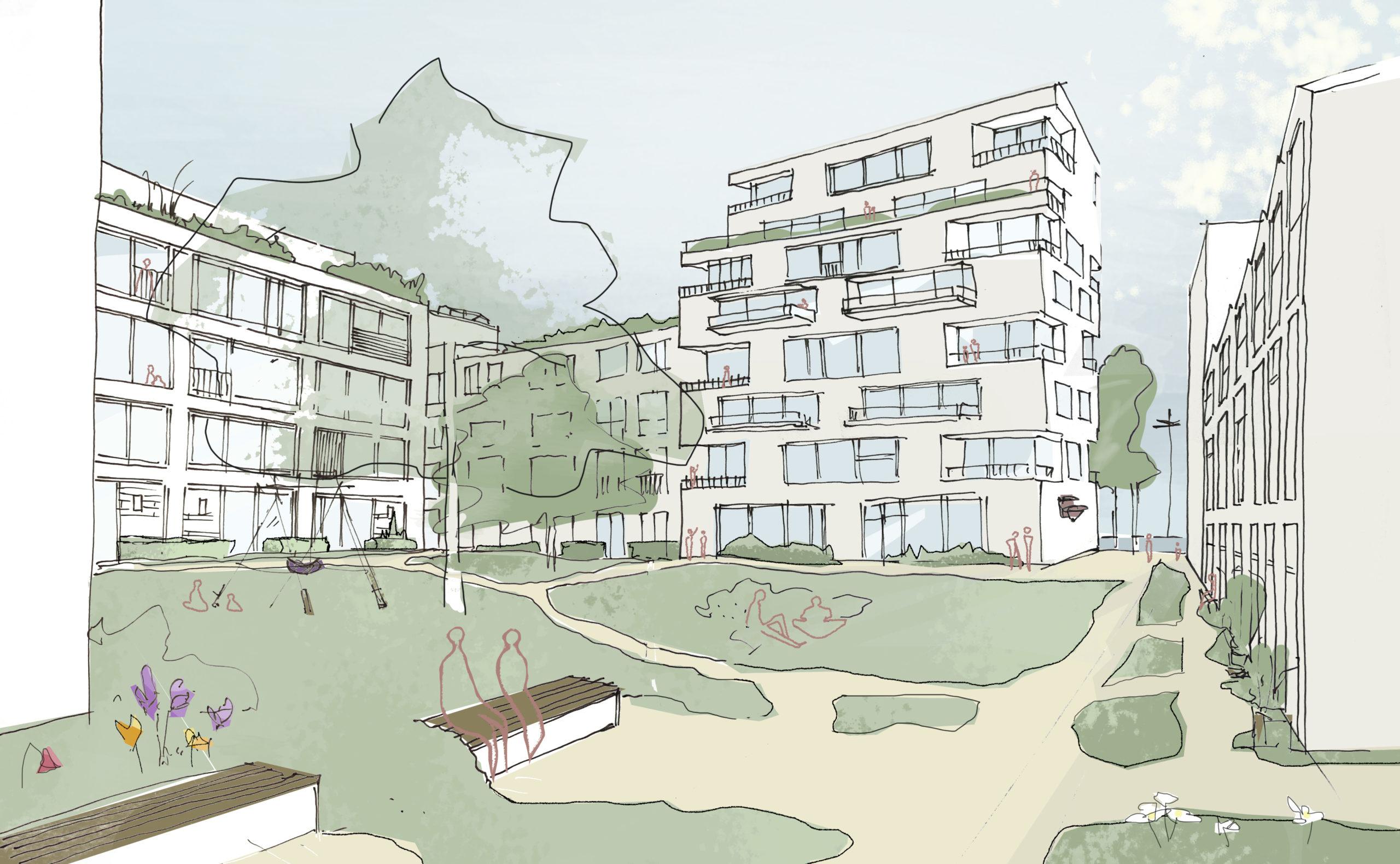 Rijnboutt Backer+ Rueb perspectief plein middengebied