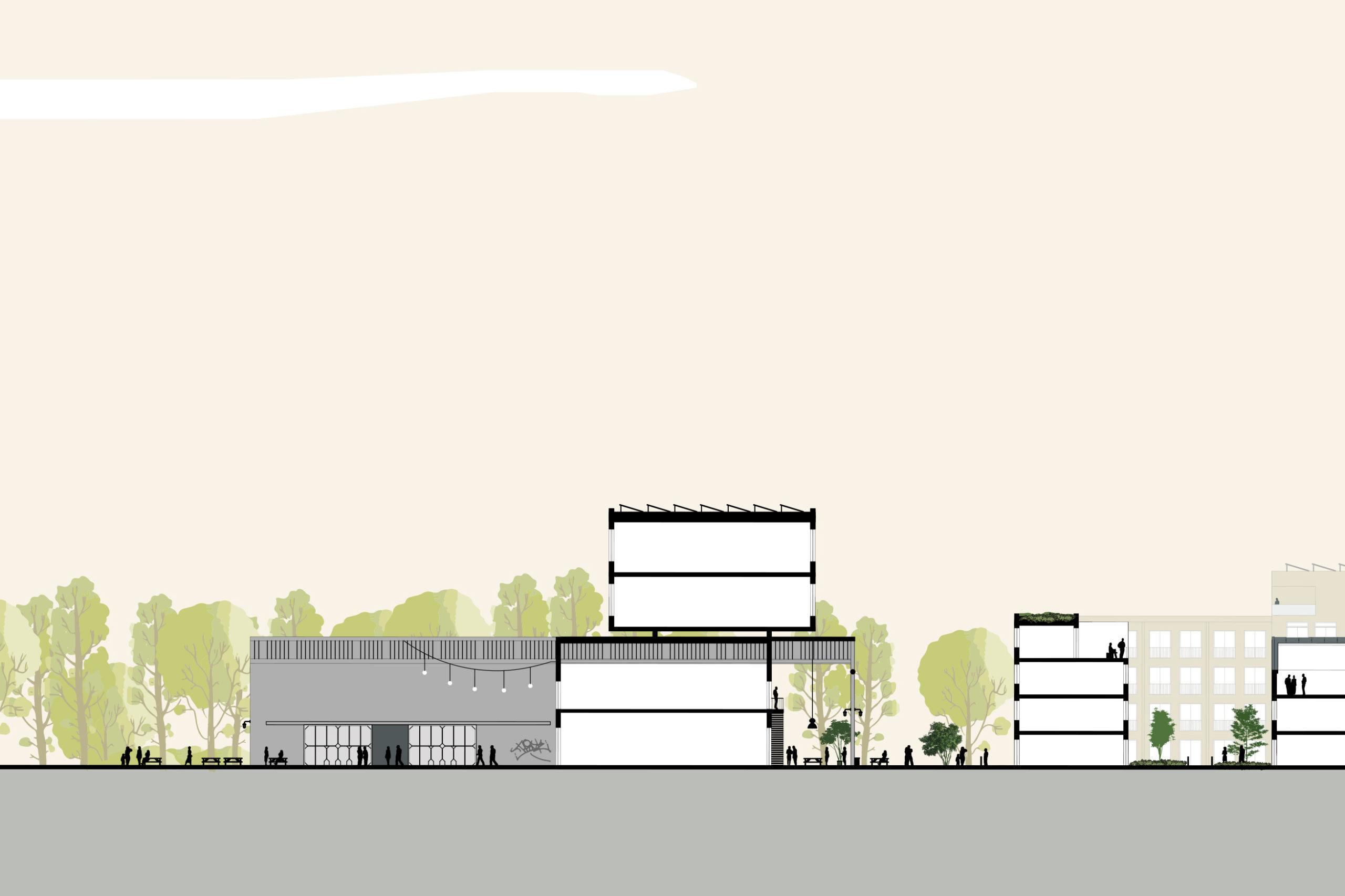 Rijnboutt Backer+Rueb-illustratieve doorsnede Van Puijfelikhal