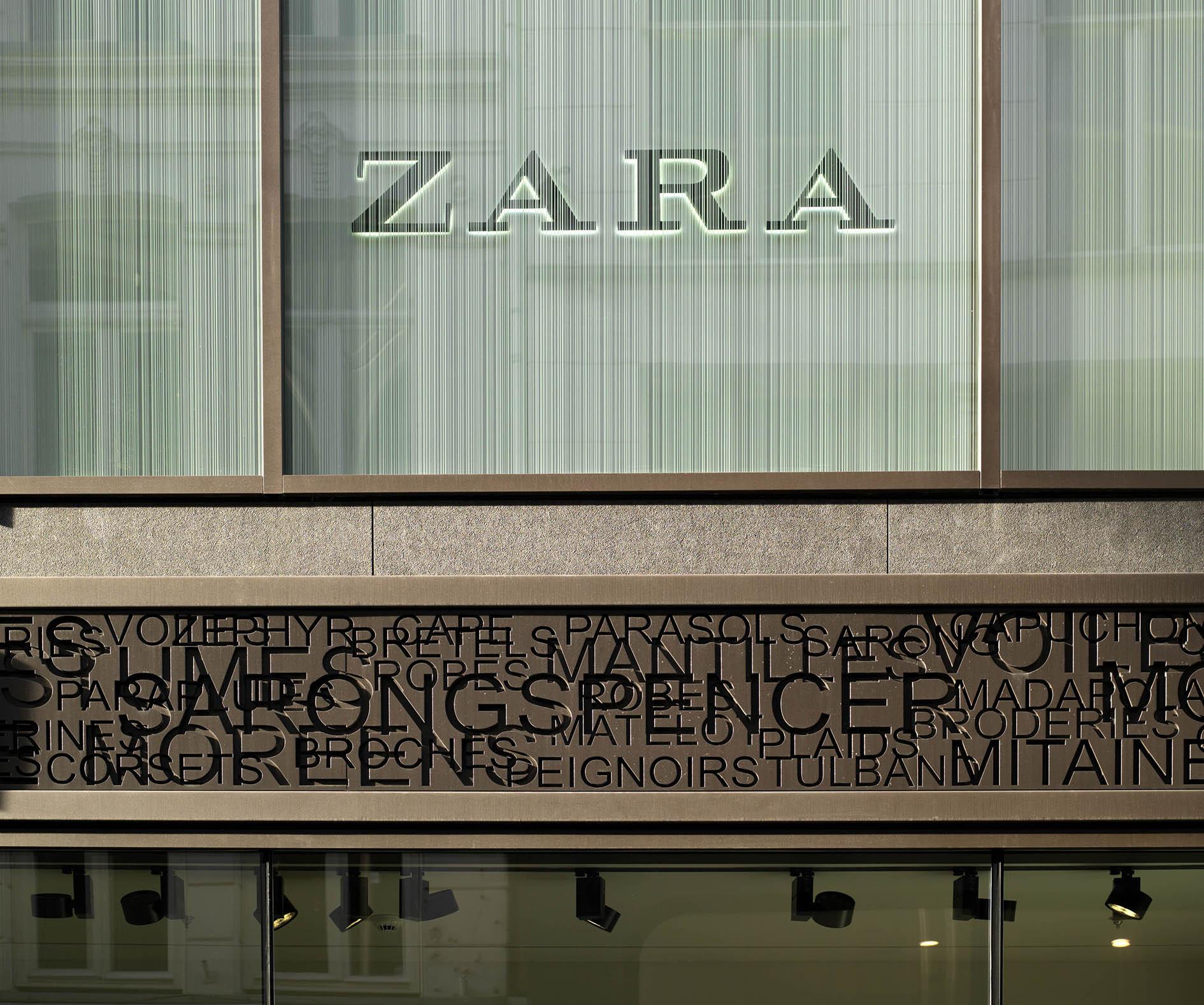 Beurspassage, Damrak, Nieuwendijk Amsterdam detail gevel Zara