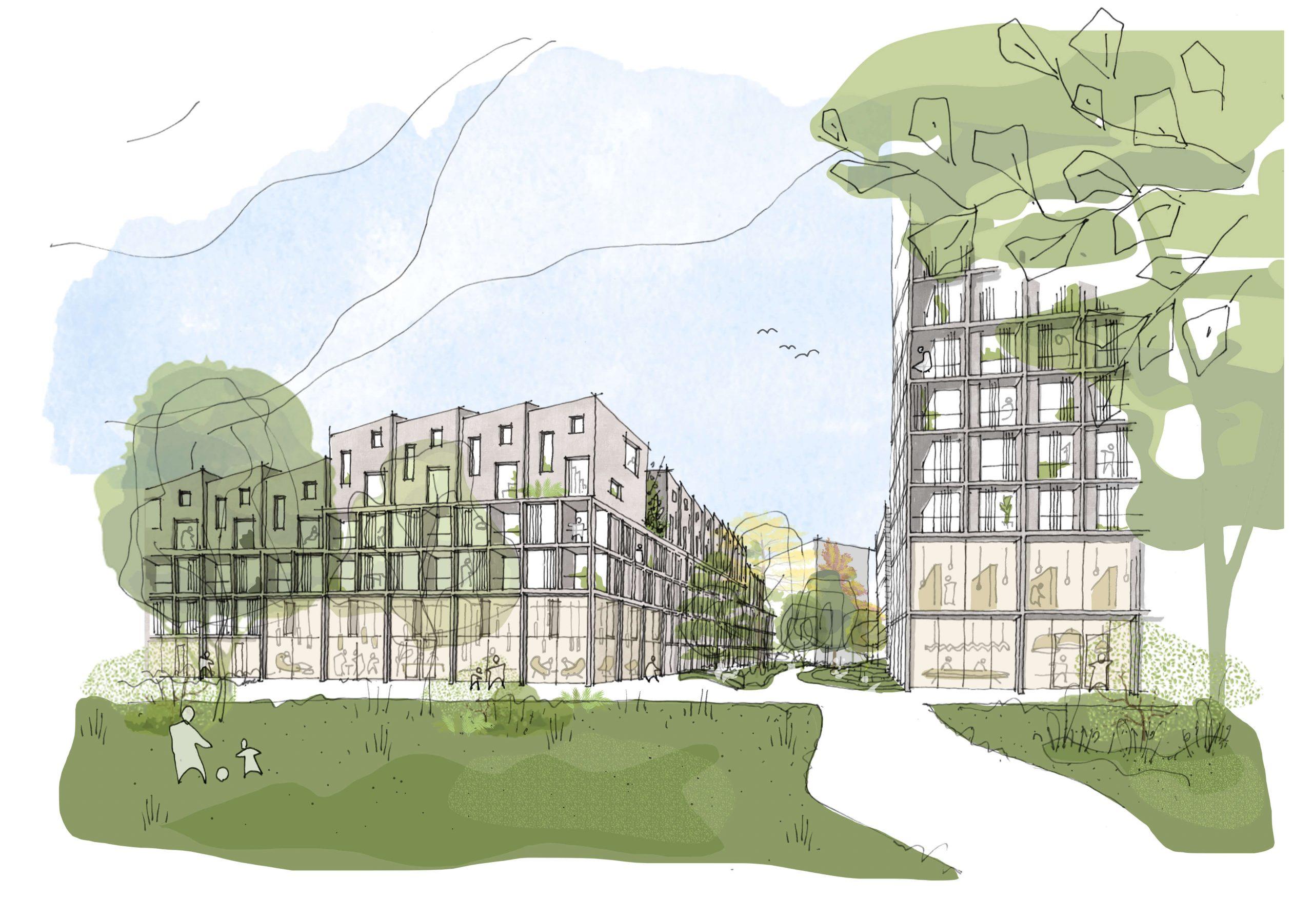 Rijnboutt Vondel en de Zwaan Leiden schets