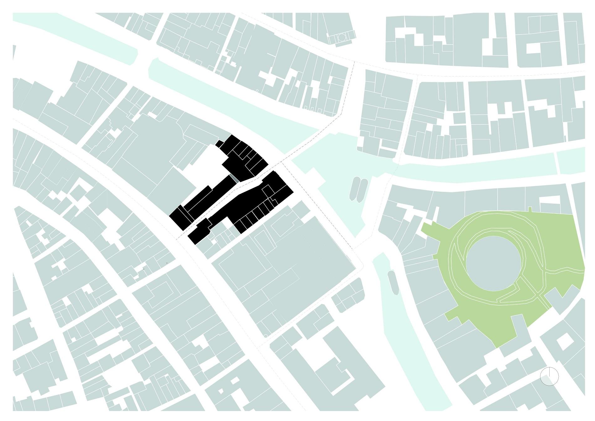 Situatietekening van Catharinasteeg en Aalmarkt in Leiden door Rijnboutt